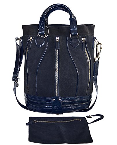 Lacoste Suede Leather Eclipse Bucket Bag Tote Satchel Handbag Purse Eclipse Blue