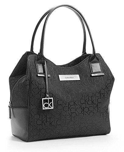 Calvin Klein Logo Jacquard Center Zip Hobo Handbag Satchel Purse Tote (Blackl)