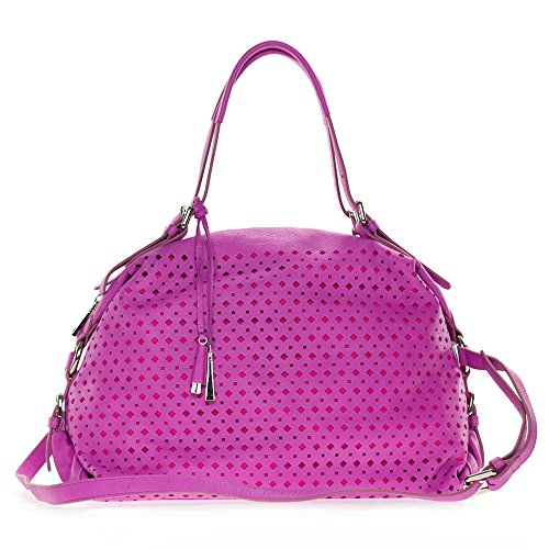 Cromia Italian Made Fuchsia Pink Perforated Leather Carryall Satchel Handbag