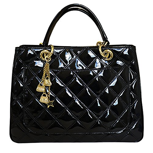 Carbotti Designer Quilted Leather Grab Handbag – Black