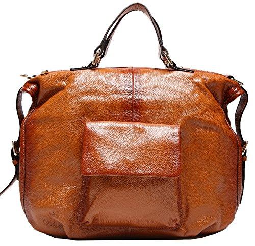 Heshe Soft Genuine Leather Tote Top Handle Shoulder Cross Body Bag Satchel Purse Handbag for Women