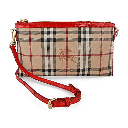 Burberry Peyton Haymarket Check with Coral Red Leather Trim Clutch Bag 3963483