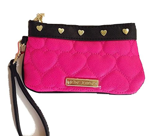 Betsey Johnson Pink Quilted Heart Wristlet