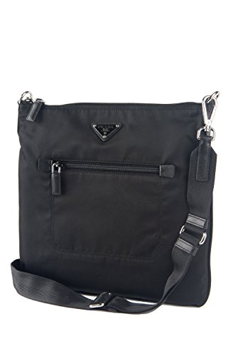 Prada Tessuto & Saffiano Unisex Messenger Cross-body Work Travel Bag Black