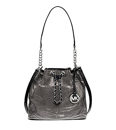 Michael Michael Kors Frankie Large Mesh Drawstring Shoulder Handbag – Silver/Black