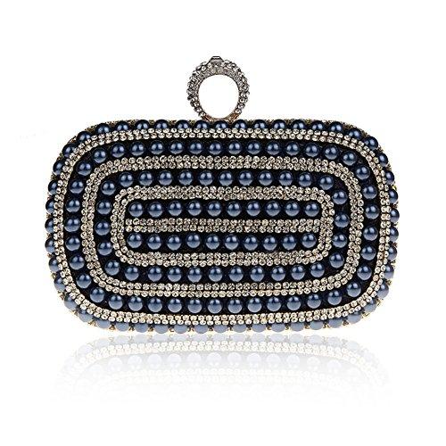 TopTie Elegant Annular Pearl Beads / Rhinestone Handbag Clutch