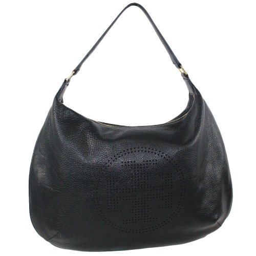 Tory Burch Perforated Logo Hobo in Black