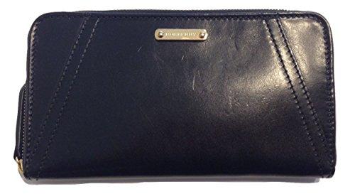 Burberry Bridle Slim Ziggy Zip Around Wallet Clutch Black Leather