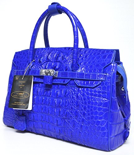 +ThaiPremiumHouse+100% GENUINE CROCODILE LEATHER HANDBAG CLUTCH BAG PURSE LARGE LOCKED SHINY ROYAL BLUE NEW