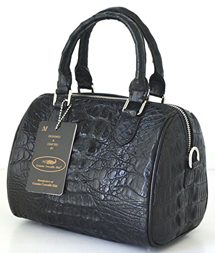 +ThaiPremiumHouse+100% GENUINE CROCODILE LEATHER HANDBAG CLUTCH BAG PURSE BLACK NEW W/Strap