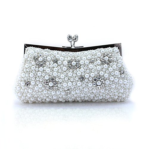 TopTie Pearl Clutch with Cute Rhinestone Flower, Prom Purse