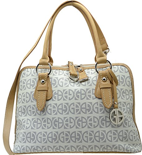 Giani Bernini Handbag, Block Signature Dome Satchel, White
