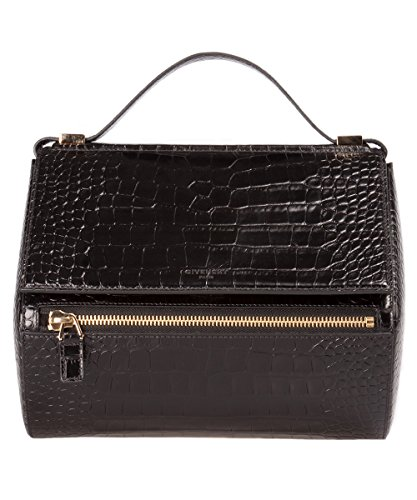 Givenchy Croc Embossed Black Leather Medium Pandora Box Bag / Rare Sold Out