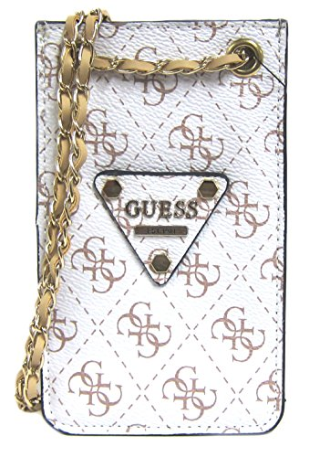 GUESS Women's Chit Chat Logo-Print Smartphone Cross-Body Bag, White