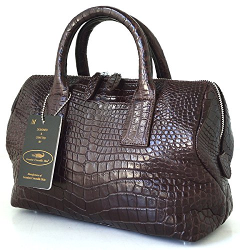 +ThaiPremiumHouse+100% BELLY SKIN GENUINE CROCODILE LEATHER HANDBAG CLUTCH BAG PURSE HOBO DARK BROWN NEW