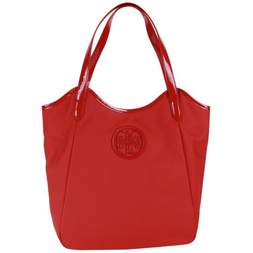 Tory Burch Dipped Canvas Stacked Logo North South Tote in Berry Red