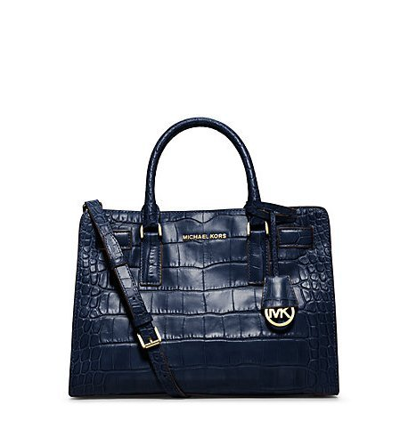 Michael Kors Dillon Ew Satchel Embossed Leather in Navy