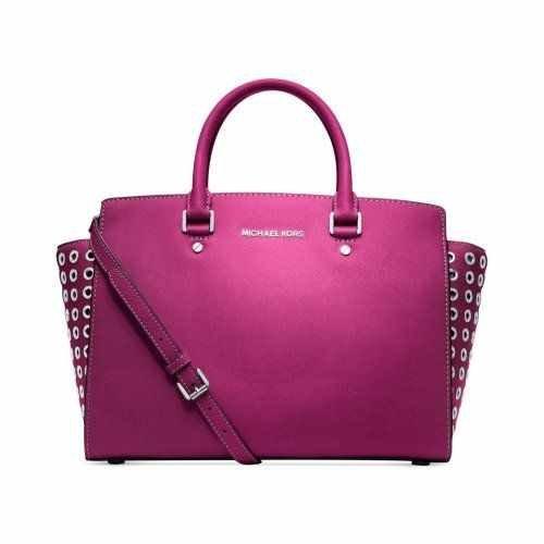 Michael Kors Selma Grommet Large Fuscia Pink Silver Saffiano Leather Satchel Handbag
