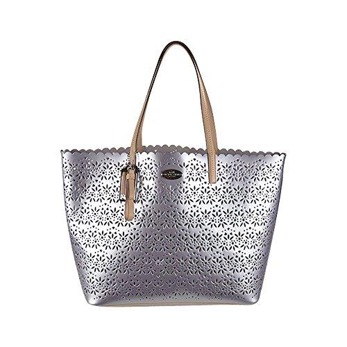 Coach Metro Eyelet Leather Tote Bag W Wristlet F27544 Grey Pearl