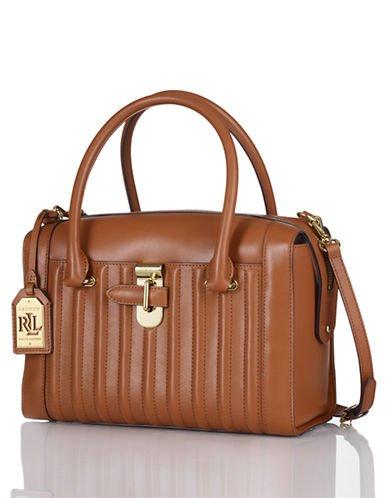 Lauren Ralph Lauren Willenhall Leather Satchel Brown Handbag New