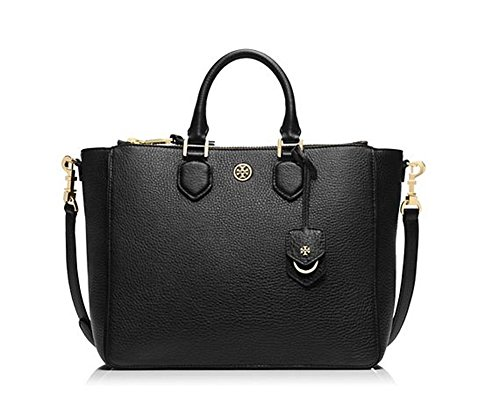 New With Tag Tory Burch Robinson Pebbled Square Tote Black handbag bag purse Retail Price 550