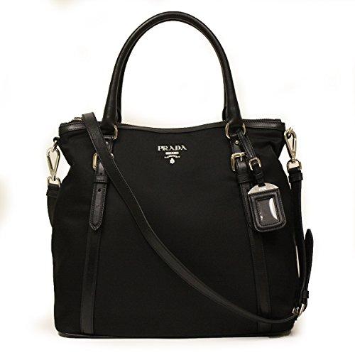 Prada BR5116 Nero Sacca 2 Manici Tessuto + Soft Calf Leather Black Nylon and Leather Tote Bag