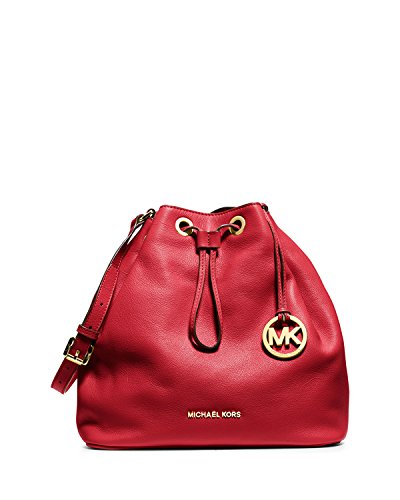 MICHAEL Michael Kors Large Jules Drawstring Shoulder Bag in Red Leather