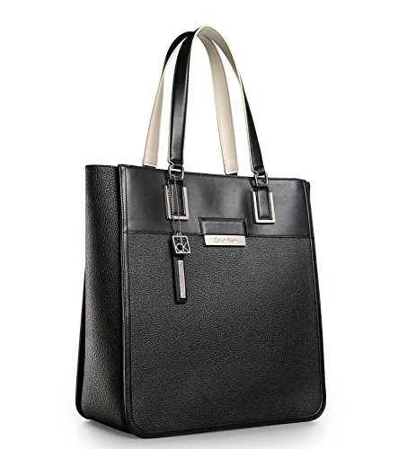 Calvin Klein Valerie Textured Triple Compartment Dual Handle Tote Bag Black