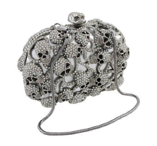 Silver Rhinestone Encrusted Skull Evening Bag Clutch Purse