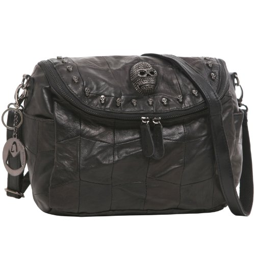 MG Collection TINA 3D Gothic Skull Studded Black Quilted Leather Satchel Handbag