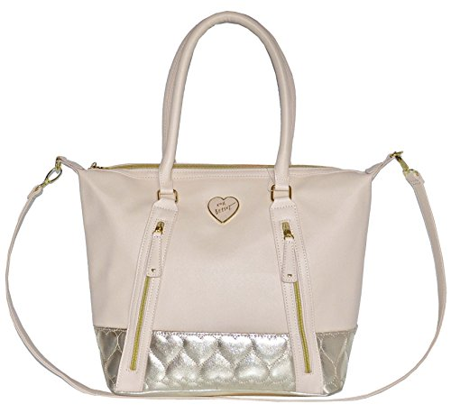 Betsey Johnson Saffiano Quilted Heart Double Zip Tote Purse Bag Handbag Bone