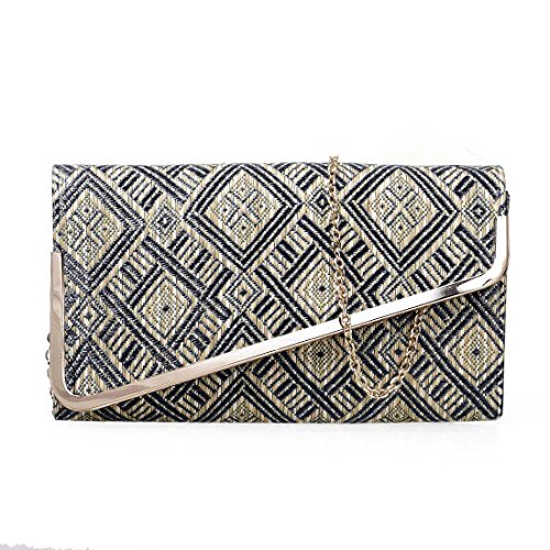 BMC Womens Woven Straw Diamond Pattern Metal Angled Flap Fashion Clutch Handbag