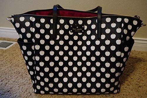 Kate Spade Ellison Avenue Adaira Baby Diaper Bag Black Cream Apples