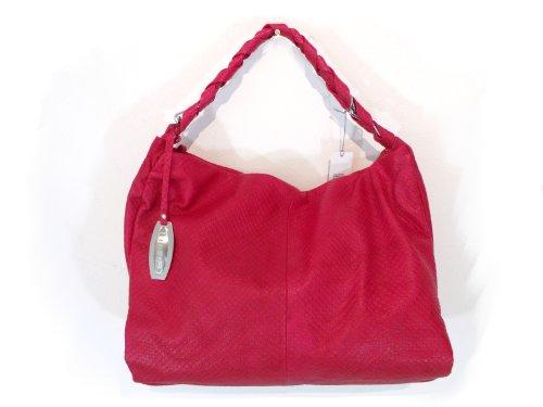 NICOLI Coral Red Designer Italian Leather Handbag Purse Tote Bag
