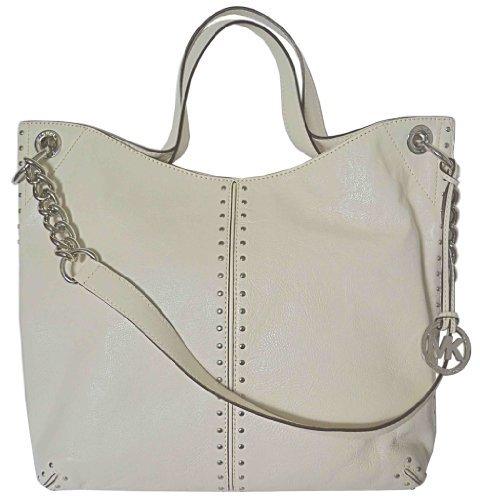 Michael Kors Large Vanilla Ivory Off-White Leather Uptown Astor Large Satchel Tote Handbag