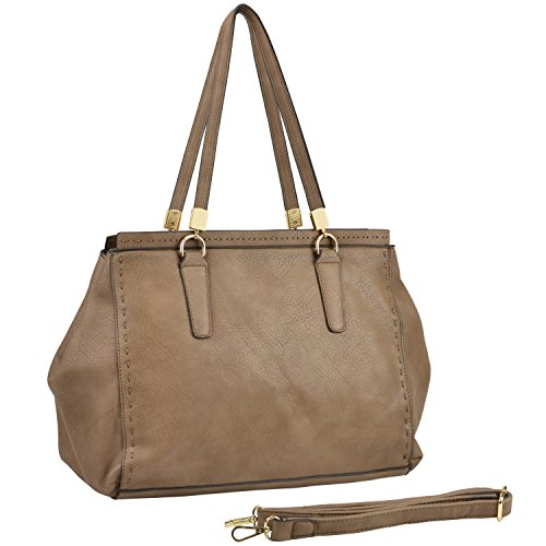 MG Collection LIBBY Taupe Brown Stitched Detail Office Satchel Handbag Tote