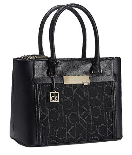 Calvin Klein Womens Addie Double Zip Carryall Tote Handbag (Black)