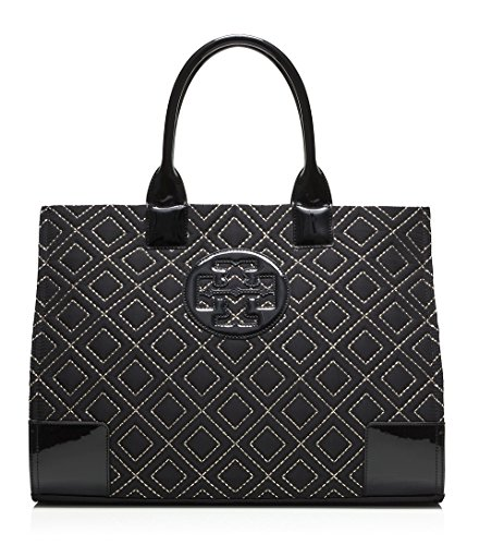 Tory Burch Ella Quilted Tote Black Gold