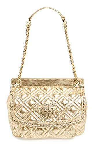 Tory Burch Small Marion Quilted Lambskin Crossbody Bag Gold Leather New