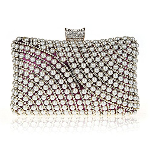 TopTie Luxury Pearl Bead Rhinestone Mounted Clutch Handcase