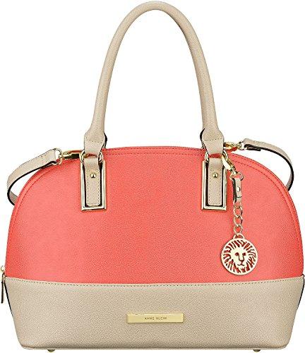 Anne Klein Coral Satchel Handbag Coral/beige