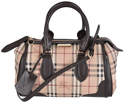 Burberry Women's Haymarket Nova Check Top Zip Satchel Purse