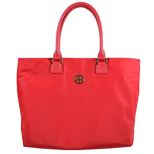 Tory Burch Logo Nylon Dena Shopper Tote Bright Red