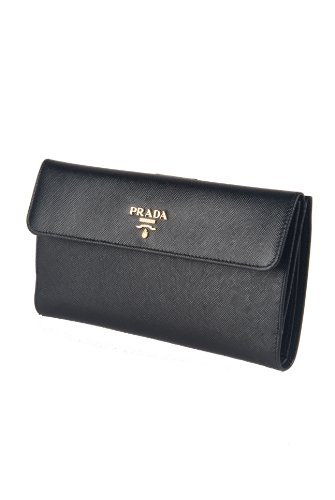 Authentic Prada Black Saffiano Leather Deluxe Edition Continental Clutch Wallet