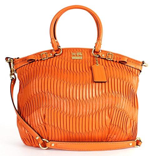 Coach 33371 Madison Gathered Leather Large Lindsey Satchel Orange