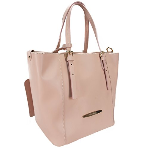 Pierre Cardin 1335 ROSA Made in Italy Pink Leather Structured Tote/Shoulder Bag
