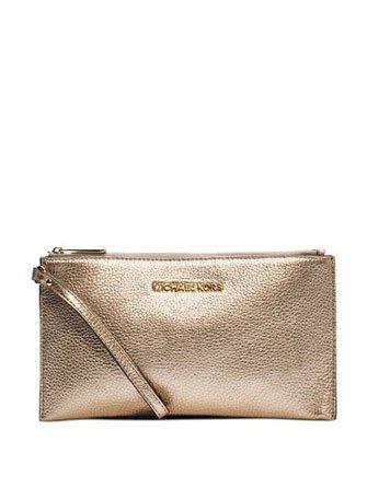 Michael Kors Fulton Large Pale Gold Leather Top Zip Clutch / Wristlet