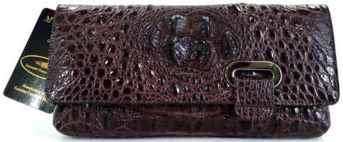 100% HORNBACK SKIN GENUINE CROCODILE LEATHER HANDBAG CLUTCH EVENING BAG PURSE SHINY DARK BROWN NEW W/Strap EMS SHIPPING @ Genuineshop