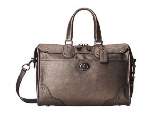 COACH Metallic Leather Rhyder Satchel 33739 Brass