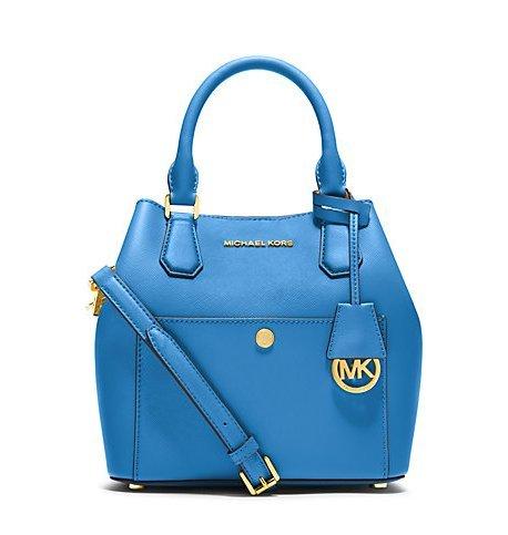 Michael Kors Greenwich MEDIUM Saffiano Leather Satchel HERITAGE BLUE/ NAVY/